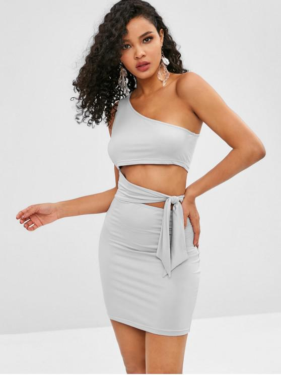 shops ZAFUL One Shoulder Tied Bodycon Dress - GRAY GOOSE S