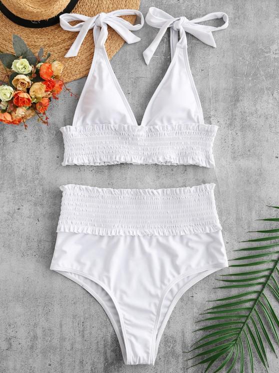 ZAFUL Ensemble de Bikini Plissé Taille Haute à Epaule Nouée - Blanc S