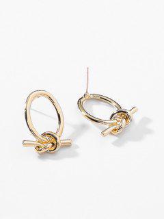 Knot Shape Metal Earrings - Gold