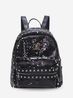 Shiny Paillette Rivet Backpack - Negro