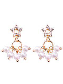 Rhinestone Faux Pearl Star Shape Mini Drop Earrings - Oro