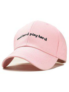 Adjustable Letter Embroidery Trucker Hat Baseball Cap - Pink