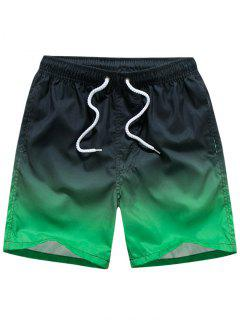 Ombre Print Drawstring Beach Shorts - Black Xs