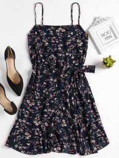 Ruffles Overlap Mini Dress - Midnight Blue M