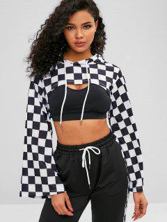 ZAFUL Checkered Drop Shoulder Crop Hoodie - Black L
