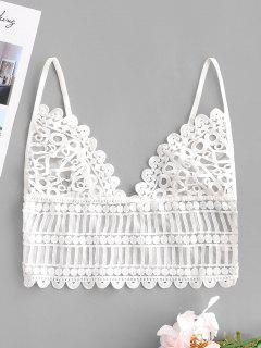Mesh Crochet Longline Lingerie Bra - White L