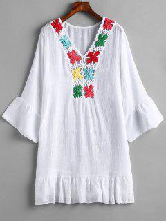 Ruffle Crochet Panel Beach Dress - White