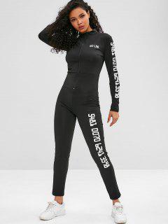Zip Long Sleeve Printed Gym Jumpsuit - Black L