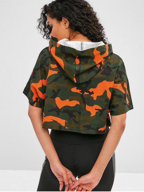 Sweat à Capuche Court Camouflage à Manches Chauve-souris - ACU Camouflage L Mobile