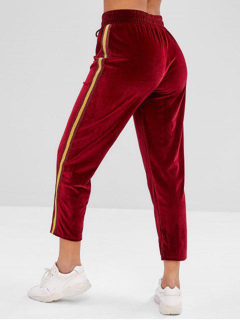 online ZAFUL Striped Drawstring Velvet Pants - RED WINE S Mobile