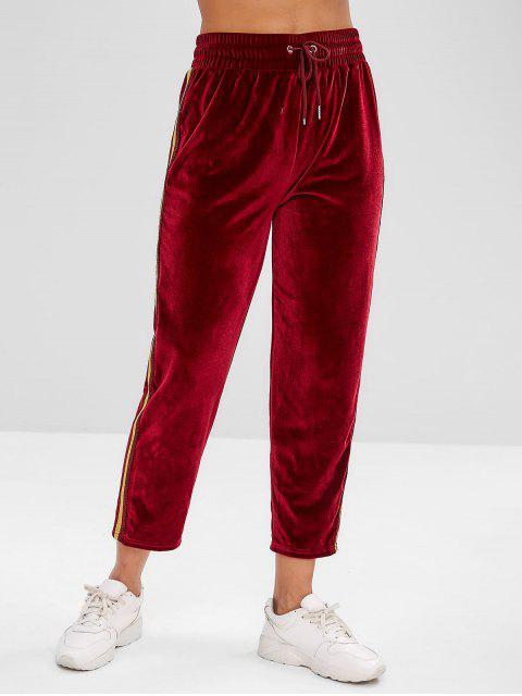 hot ZAFUL Striped Drawstring Velvet Pants - RED WINE L Mobile