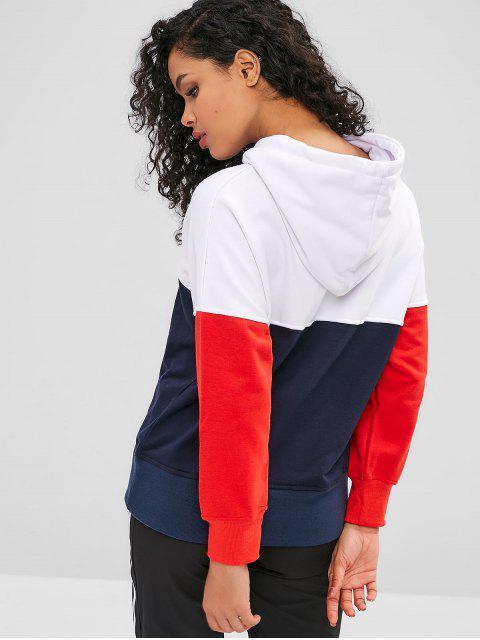 Caída de hombro color block sudadera con capucha con cordón - Multicolor-A S Mobile