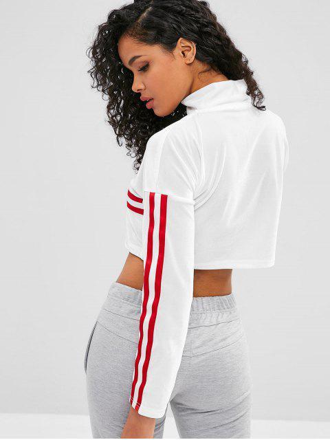 shop ZAFUL Striped Velvet Half Zipper Crop Sweatshirt - WHITE L Mobile