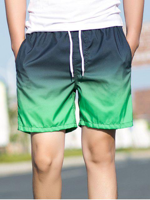 lady Ombre Print Drawstring Beach Shorts - BLACK S Mobile