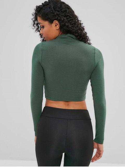affordable Cowl Neck Drawstring Crop Sweatshirt - CAMOUFLAGE GREEN M Mobile