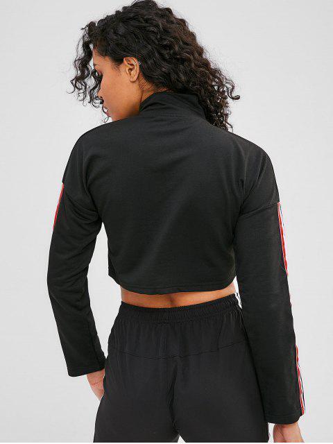 Sweat-shirt Court Zippé Rayé - Noir L Mobile