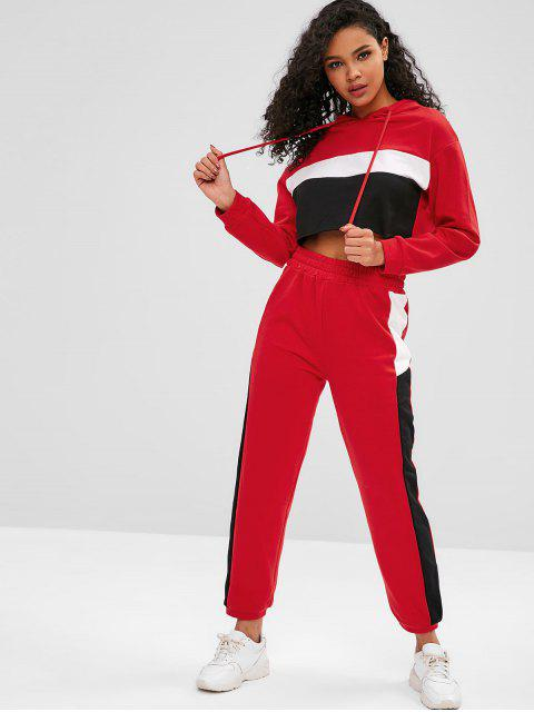 lady Hooded Color Block Sweat Suits - RED S Mobile