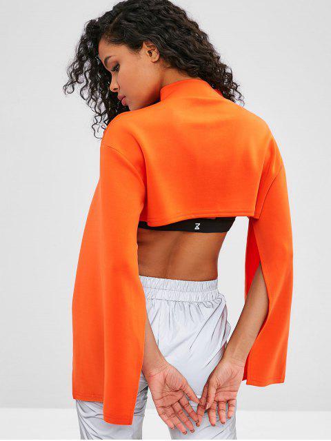 Geteilte Sweatshirt mit aufgeteilten Ärmeln und offenem Busen - Orange M Mobile