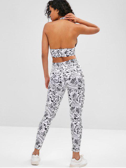 Gymnastik Floral Yoga-BH und Leggings Set - Weiß M Mobile