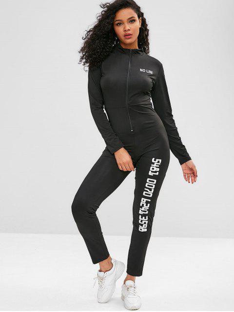 Gymnastik-Overall mit Reißverschluss und langen Ärmeln - Schwarz S Mobile