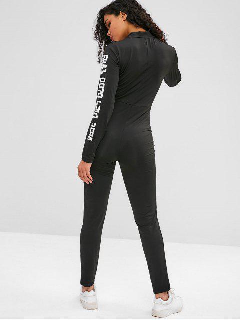 Gymnastik-Overall mit Reißverschluss und langen Ärmeln - Schwarz L Mobile