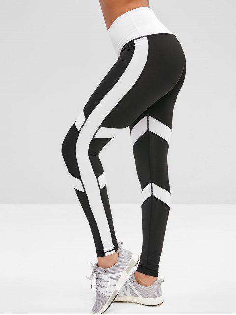 affordable Wide Waistband Two Tone Yoga Leggings - BLACK L Mobile