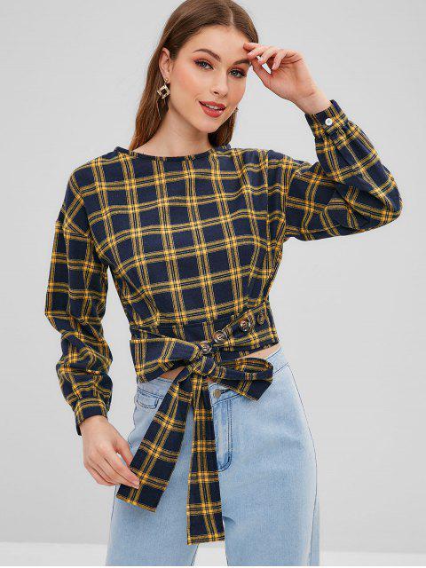 affordable Tie Front Buttoned Plaid Blouse - MULTI M Mobile