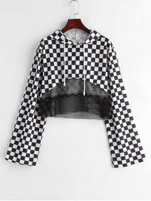 hot Checkered Fishnet Insert Hoodie - BLACK M Mobile
