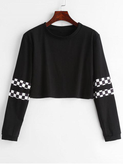 women Checkered Crop Sweatshirt - BLACK XS Mobile