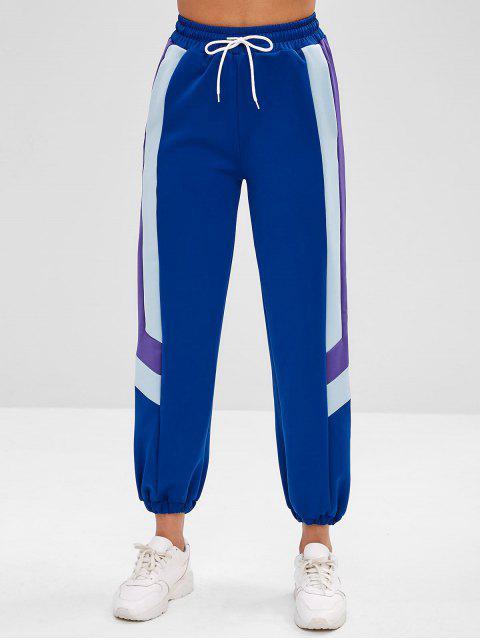 ZAFUL Tricolor Jogginghose mit hoher Taille - Blau M Mobile