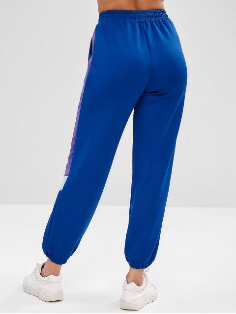 ZAFUL Tricolor Jogginghose mit hoher Taille - Blau L Mobile