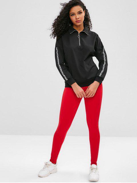 Brief Viertel Reißverschluss Drop Schulter Sweatshirt - Schwarz L Mobile