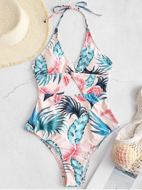 Bañador sin espalda con estampado de hojas de corte alto ZAFUL - Multicolor XL Mobile