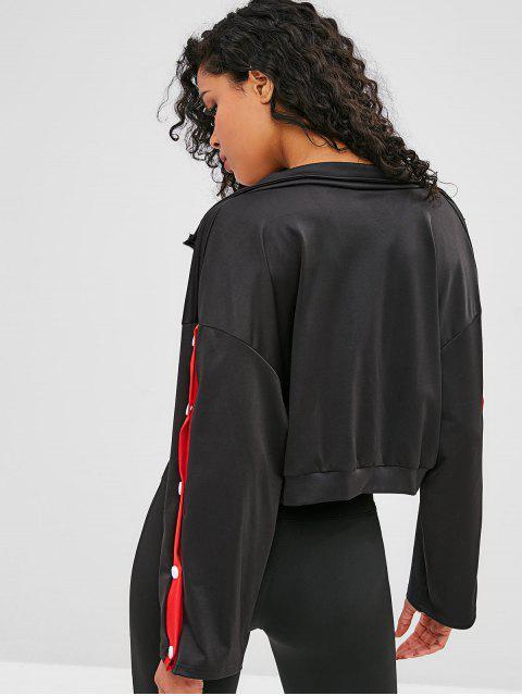 Sweatshirt mit kontrastfarbenem Reißverschluss an der Schulter - Schwarz M Mobile
