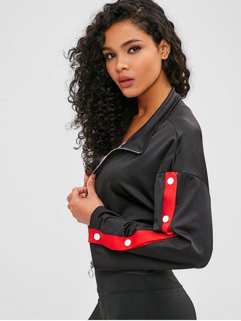 Sweatshirt mit kontrastfarbenem Reißverschluss an der Schulter - Schwarz L Mobile
