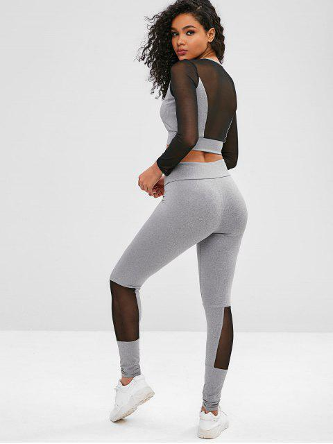 chic Mesh Two Tone Gym Tee and Leggings Set - LIGHT GRAY L Mobile