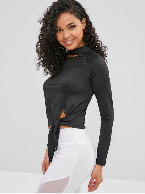 T-Shirt mit Raglanärmel und Daumenloch ausgeschnitten - Schwarz M Mobile