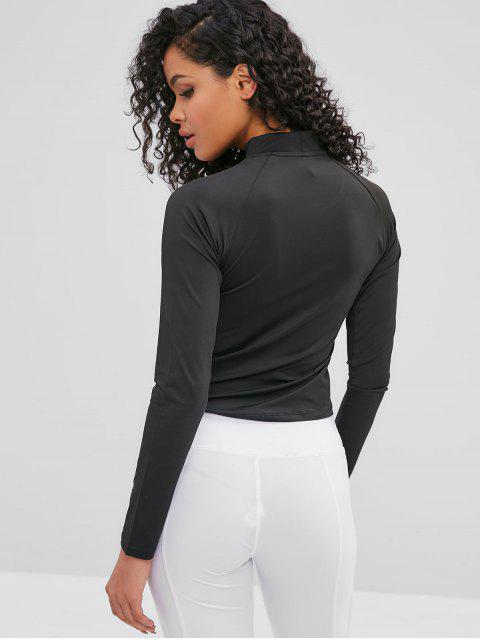 T-Shirt mit Raglanärmel und Daumenloch ausgeschnitten - Schwarz L Mobile