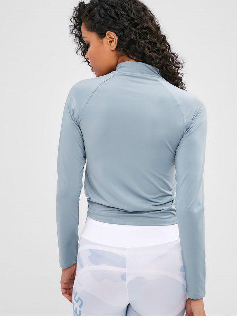 T-Shirt mit Raglanärmel und Daumenloch ausgeschnitten - Blaugrau L Mobile