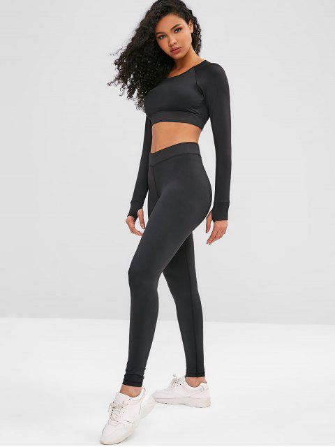 Cut Out Crop Gym Tee and Leggings Suit - Schwarz L Mobile