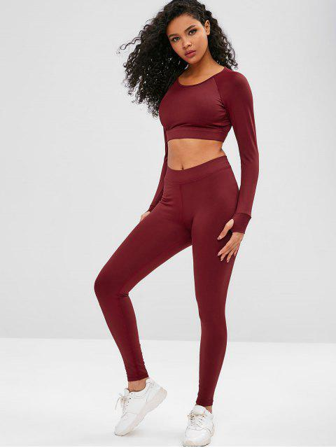 Cut Out Crop Gym Tee and Leggings Suit - Roter Wein M Mobile