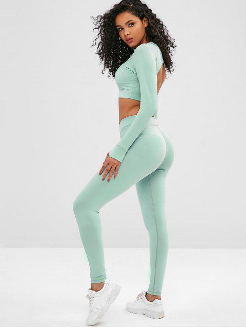 Cut Out Crop Gym Tee and Leggings Suit - Dunkles Meergrün L Mobile