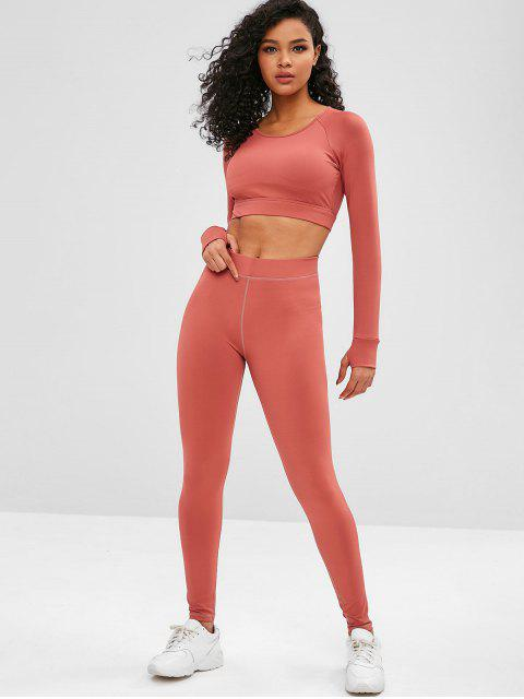 Cut Out Crop Gym Tee and Leggings Suit - Castaño Rojo M Mobile