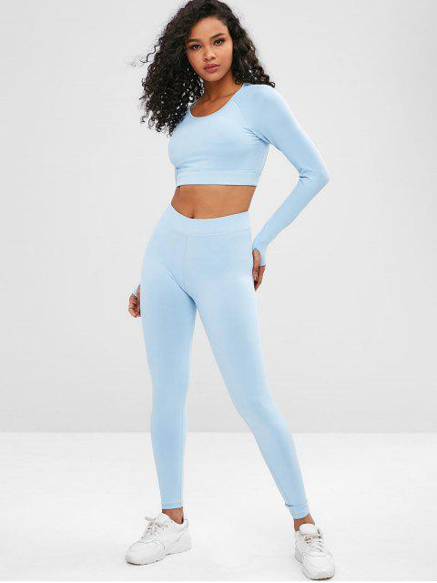 Cut Out Crop Gym Tee and Leggings Suit - Azul Claro M Mobile