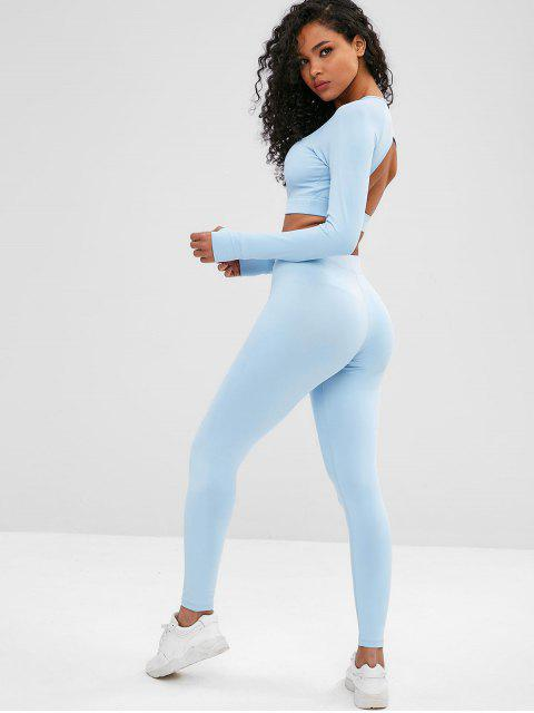 Cut Out Crop Gym Tee and Leggings Suit - Helles Blau L Mobile