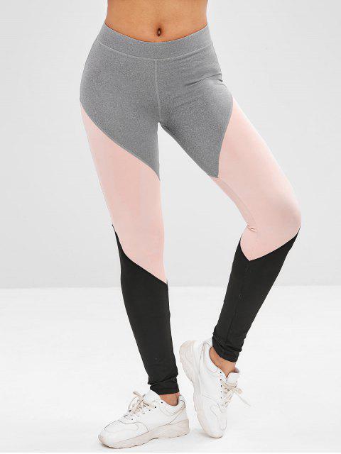 Leggings deportivos atléticos color block gym - Gris S Mobile