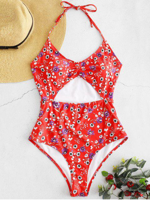 fancy ZAFUL Floral High Cut One-Piece Swimsuit - MULTI-A XL Mobile