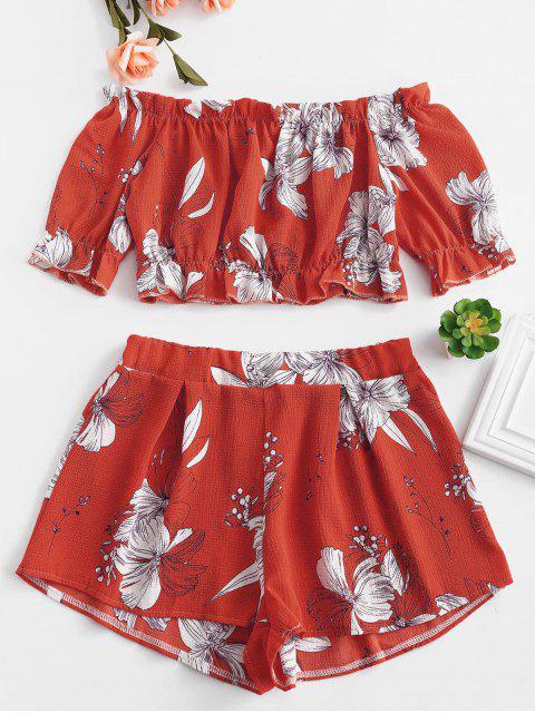 buy Off Shoulder Floral Top And Shorts Set - LAVA RED S Mobile