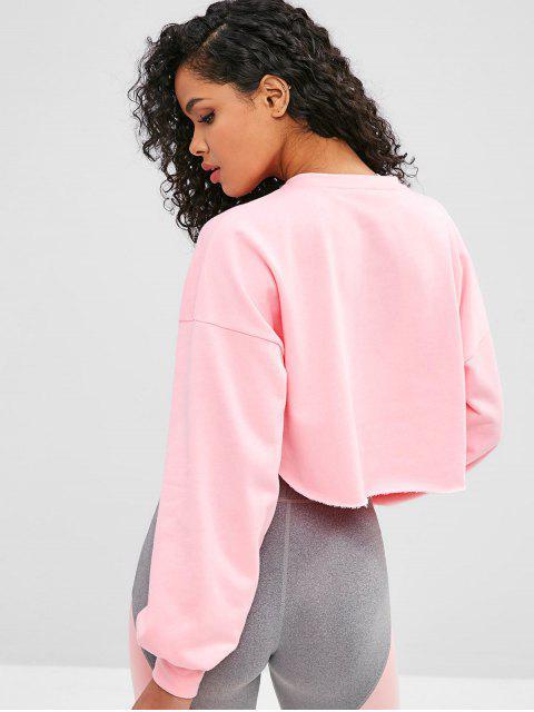 ZAFUL - Raw Hem - Crop - Sweatshirt mit offener Brust - Rosa L Mobile