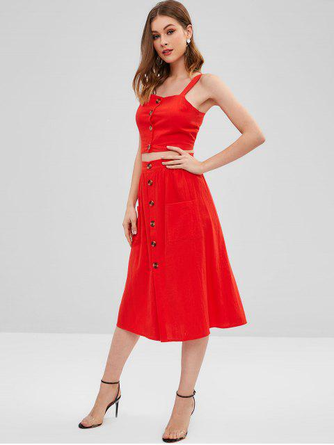 lady Smocked Button Up Top And Skirt Set - RED L Mobile